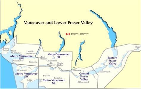 south west canada map bc lower mainland canada air quality health index map