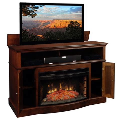 60 Inch Tv Fireplace by Tv Lift Cabinet Huntington Fireplace Lift For 40 60 Inch Screens Coffee At006449