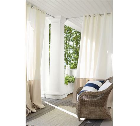 banded drapes outdoor banded drape pottery barn