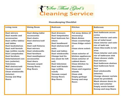 printable house cleaning checklist for housekeeper housekeeping checklist related cleaning pics pinterest