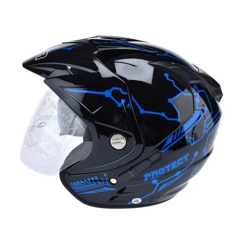 Helm Kyt Biru Jual Msr Impressive Visor Protect Helm Open Hitam Biru Harga Kualitas