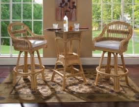 Bistro Table And Bar Stools Rattan Bar Stools Table Set Of 3 Tropical Rattan