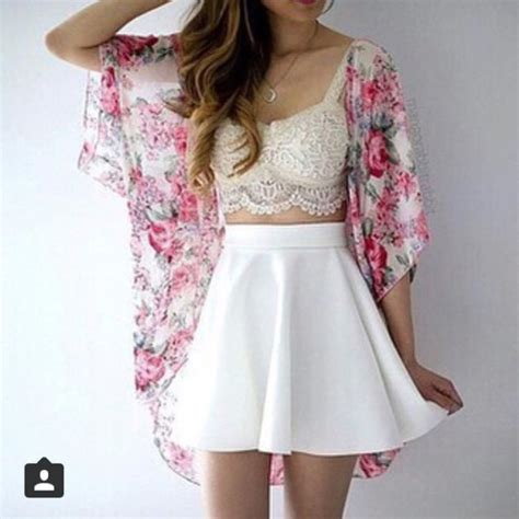 cute floral skirt outfits for teens cardigan lace bralette floral kimono summer outfits