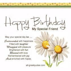 Birthday Card Verses For Friends Free Birthday Cards Happy Birthday My Special Friend