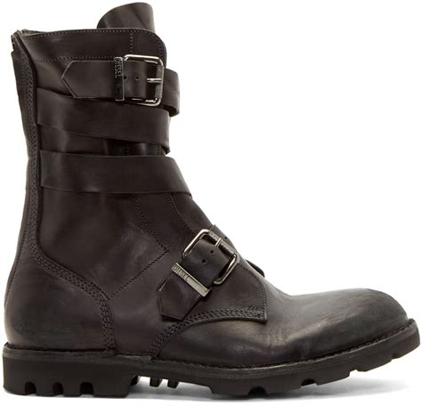 in boots diesel black leather d tankker boots in black for lyst