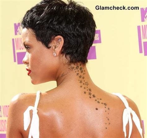rihanna back tattoo rihanna s trailing neck and back
