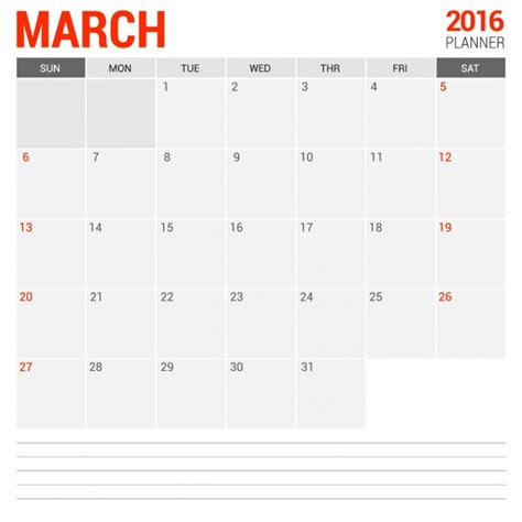 calendar template ai 2 march monthly calendar 2016 vector free