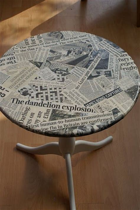 Decoupage With Newspaper Clippings - decoupage a table with news clippings dabs creative