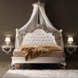 Italian Canopy Bedroom Furniture Ornate Italian Designer Silver Leaf Bed