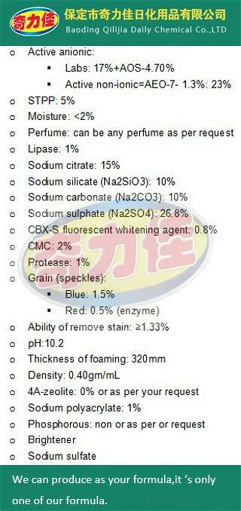 Soap Powder Chemical Composition Qilijia Names Of Washing Powder Laundry Detergent Chemical