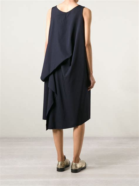 draped dress yohji yamamoto draped back oversized dress in blue lyst