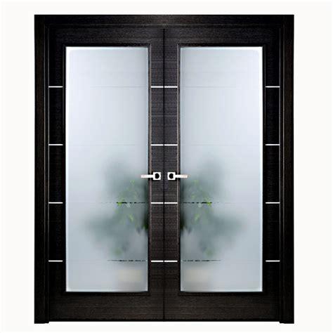 Aries Modern Interior Double Door Black With Glass Panels Interior Doors Glass Panels