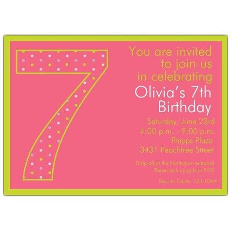 happy 7th birthday card template 7th birthday dots invitations s 7th bday