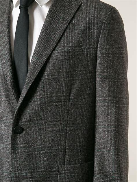 brown pattern suit lyst boglioli check pattern suit in brown for men
