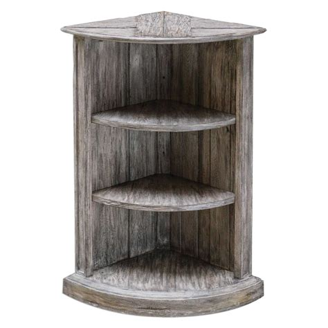 uttermost manon wooden corner shelf