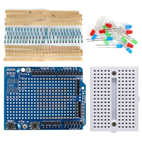 mini breadboard prototype shield kit w resistor led for arduino free shipping dealextreme