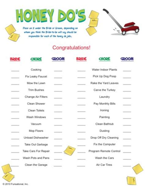 printable games couples honey do s bridal shower game we know how to do it