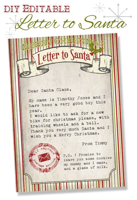 create a printable letter from santa editable letter from santa letter of recommendation