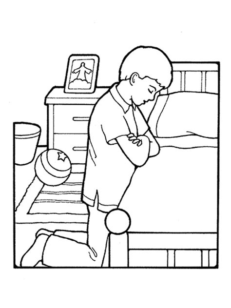 coloring page of a family praying boy praying at bedside