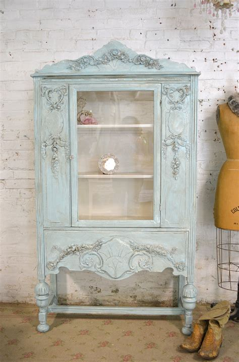 painted cottage chic shabby aqua china cabinet