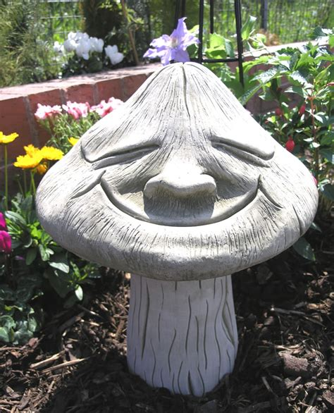 backyard ornaments smiling toadstool stone garden ornament statue 163 49 99
