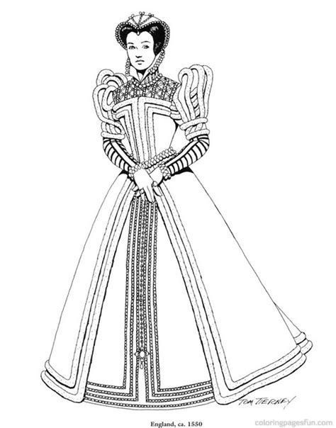 renaissance dress coloring page renaissance costumes and clothing coloring pages 33