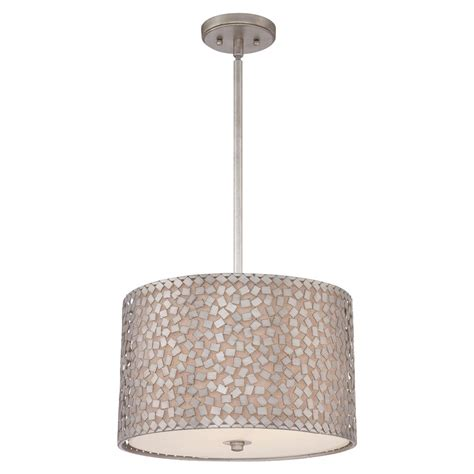 Drum Shade Ceiling Pendant Light Mosaic Pattern On Linen Shade Ceiling Light