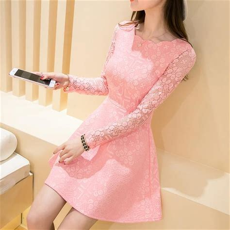 Pink Lace Summer S M L Dress summer autumn lace casual dress sleeve