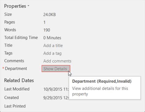 Document Properties Excel 2016