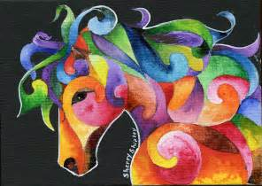 a horse of many colors painting by sherry shipley