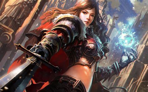 anime knight girl wallpaper wallpaper girl knight armor sword magic sphere