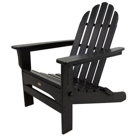 trex outdoor furniture cape  charcoal black folding plastic adirondack chair txacb