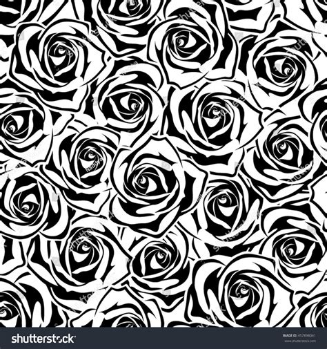 black and white rose pattern vector seamless pattern black white roses stock vector