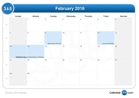 Feb 2016 Calendar February 2016 New Calendar Template Site