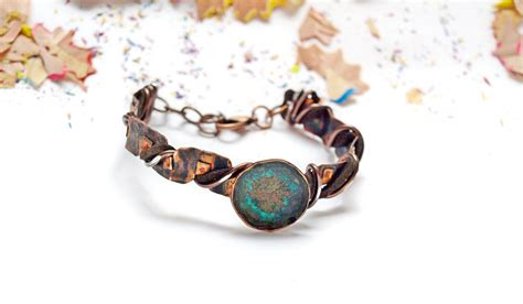 copper for jewelry copper jewelry blue patina bracelet adjustable bracelets gift