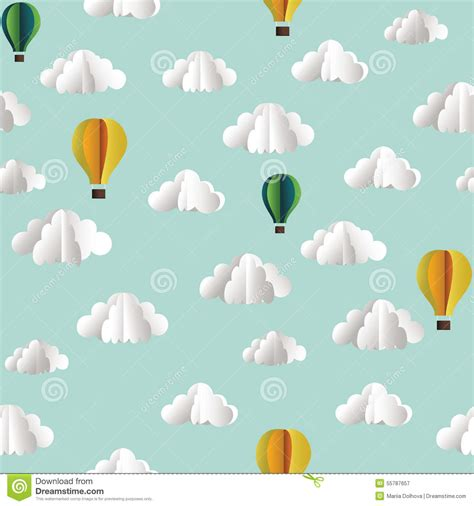 download pattern paper of pneumatic zig zag lift project vector seamless pattern with hot air balloon and clouds