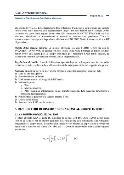banca dati vibrazioni relazione vibrazioni poste pdf