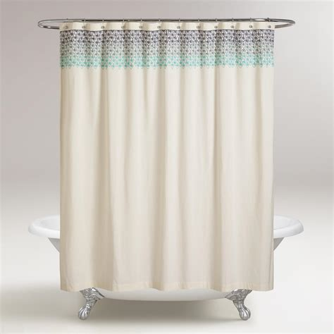 blue ombre shower curtain blue ombre embroidered namita shower curtain world market