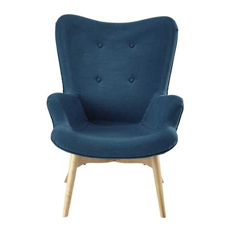 fauteuil tissu vintage fauteuil vintage en tissu bleu p 233 trole iceberg maisons du monde