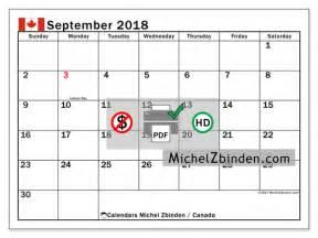 Canada Calendario 2018 Calendar To Print September 2018 Holidays In