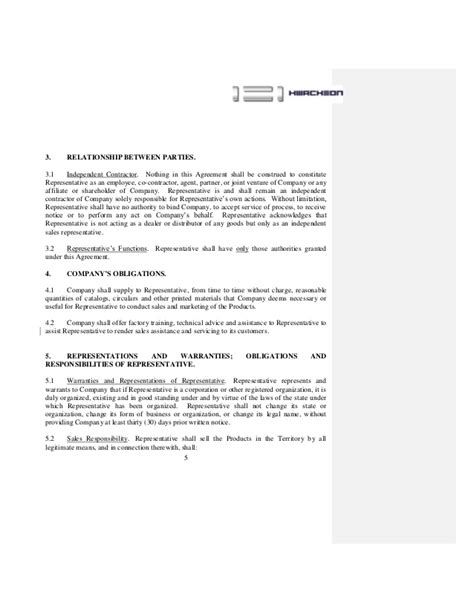 independent sales rep agreement template contract sales representative agreement