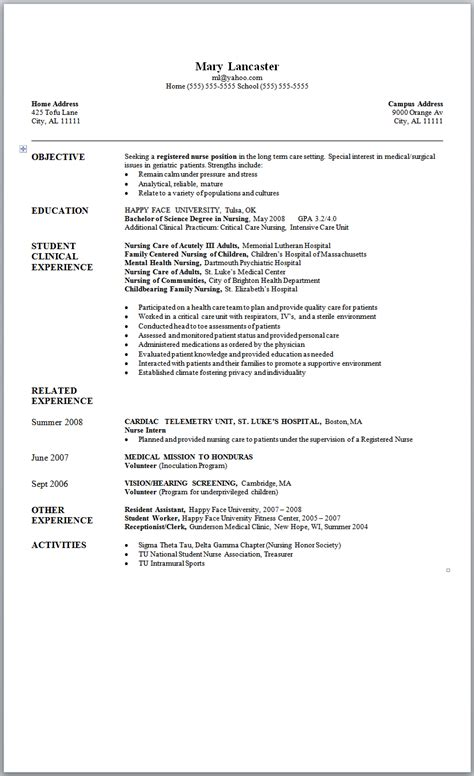 Resume Nursing by Resume Format Fresh Graduate Nurses
