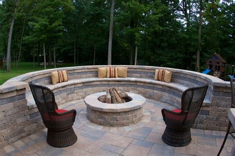 fire pit bench seating westerville ohio outdoor living area traditional
