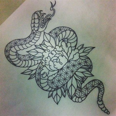 patterned snake twining  peony flower tattoo design