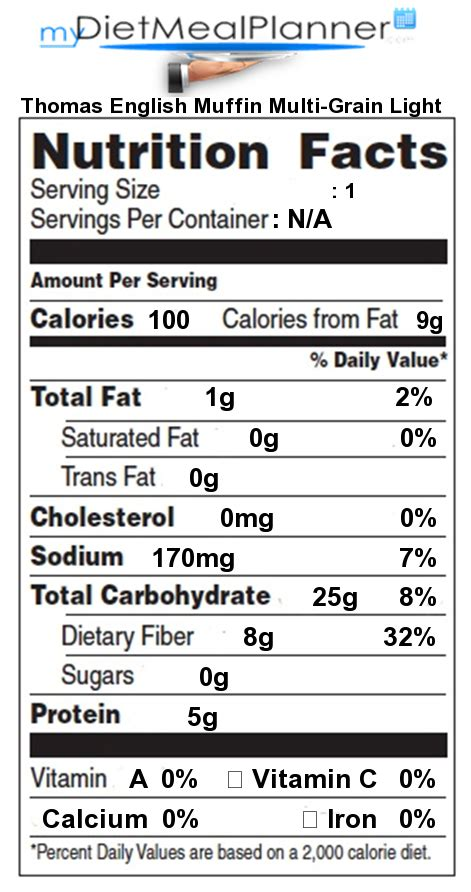 light muffin nutrition nutrition facts label breads cereals 18