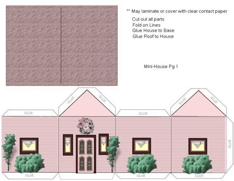 House Papercraft - paper crafts home model pink house landscaping ammey