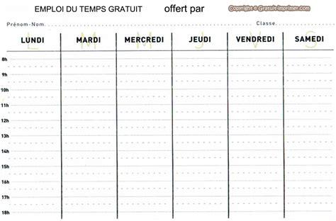 Modele Emploi Du Temps modele emploi du temps document