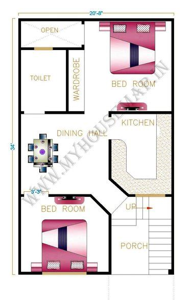 home design for 20x50 plot size one bedroom house plans front elevation design house map