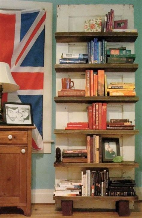 repurposed door bookshelf repurposed upcycled ideas