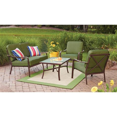 patio furniture at walmart mainstays crossman 4 patio conversation set green seats 4 walmart